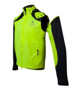 zipper off sleeves to convert to a wind breaker vest.