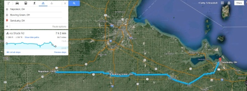 Cycling Napoleon to Sandusky through Flat Ohio roads - with a tail wind.
